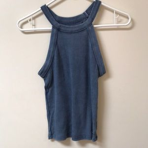 Blue Ribbed Muscle Tank